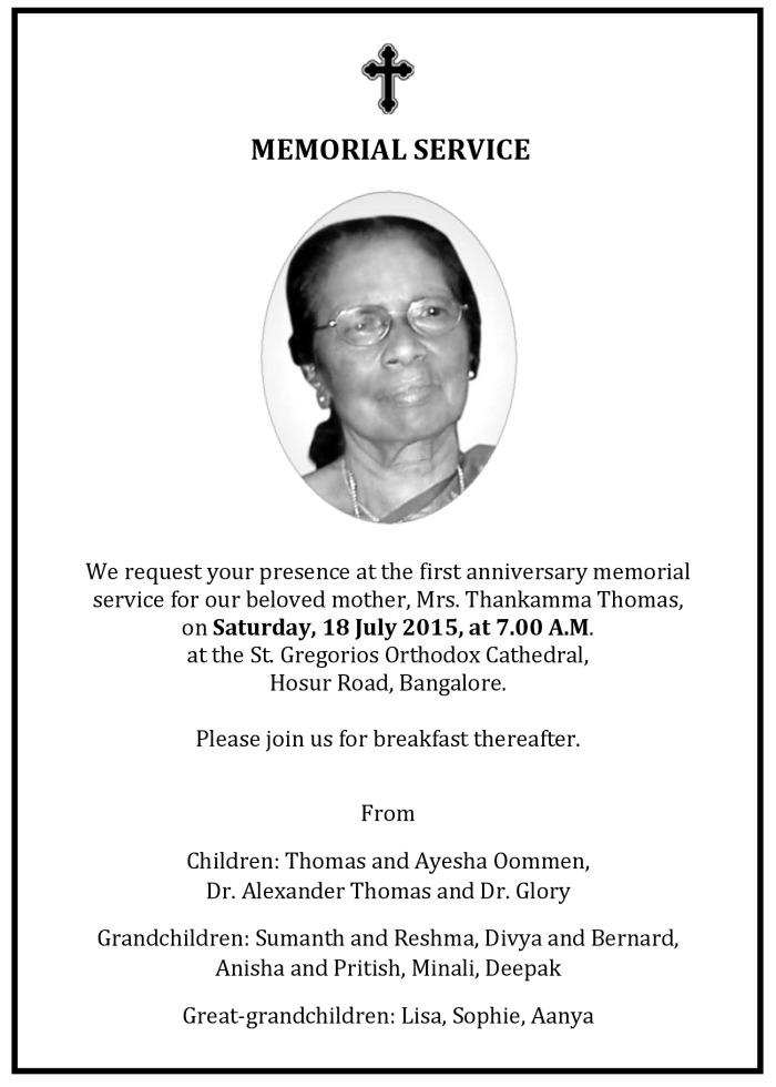 Mrs. T. Thomas Anniv Memorial